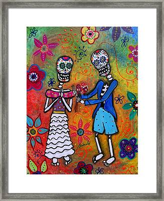 The Proposal Day Of The Dead Framed Print by Pristine Cartera Turkus