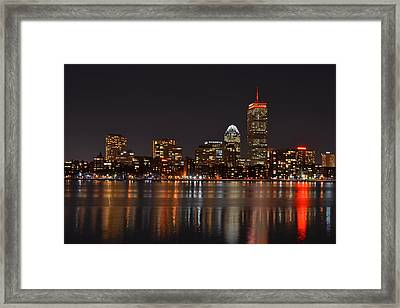 The Pru Lit Up In Red Framed Print by Toby McGuire