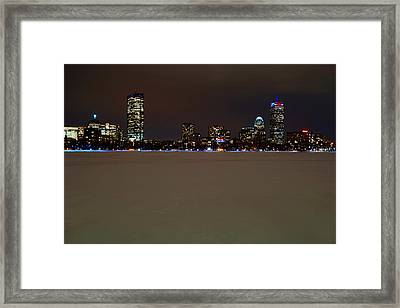 The Pru Lit Up In Red White And Blue For The Patriots Framed Print by Toby McGuire