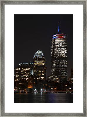 The Prudential Lit Up In Red White And Blue Framed Print