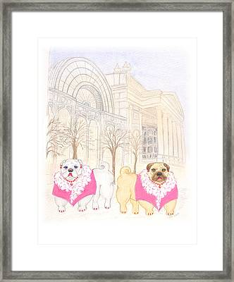 Framed Print featuring the painting The Pugsleys A Night At The Opera by Stephanie Grant