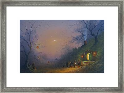 A Hobbits Halloween. The Pumpkin Seller. Framed Print by Joe Gilronan