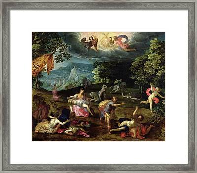 The Punishment Of Niobe Oil On Panel Framed Print
