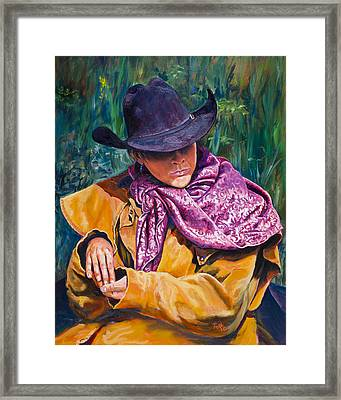 The Purple Scarf Framed Print