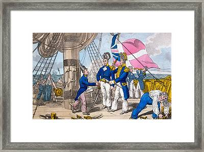 The Quarter Deck Before Battle, Plate Framed Print by Charles Williams
