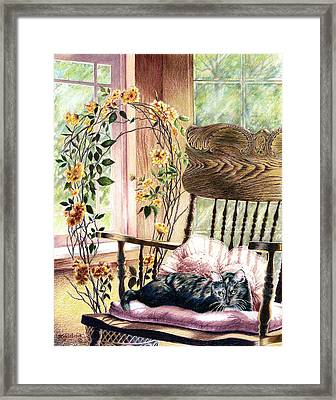 the QUEEN is on her throne Framed Print