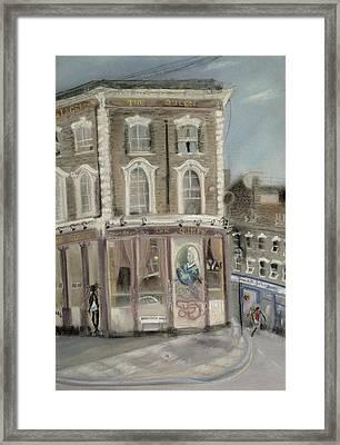 The Queen Pub, Bellefields Road Pastel On Paper Framed Print by Sophia Elliot