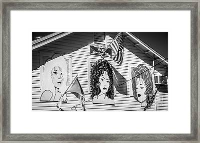 The Queens - 801 Bourbon Bar - Key West - Black And White Framed Print