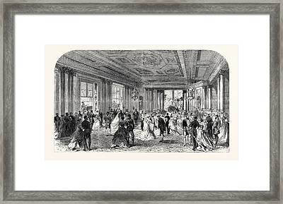 The Queens Drawingroom Grand Entrance Hall Buckingham Framed Print by English School