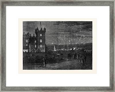 The Queens Visit To The Scottish Border The Fireworks Framed Print