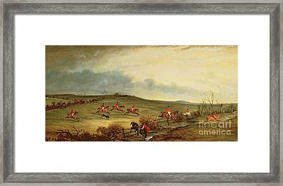 The Quorn In Full Cry Near Tiptoe Hill Framed Print