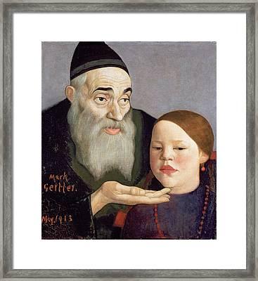 The Rabbi And His Grandchild, 1913 Framed Print