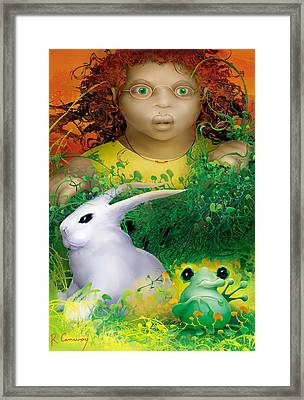 The Rabbit And The Frog Framed Print by Robert Conway