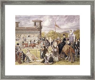 The Races At Longchamp In 1874 Framed Print by Pierre Gavarni
