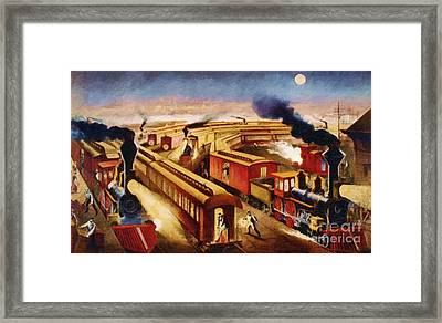 The Railroad Junction - Circa 1880 Framed Print