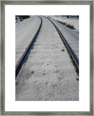 The Railroad Tracks Framed Print by Jenna Mengersen