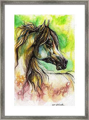 The Rainbow Colored Arabian Horse Framed Print by Angel  Tarantella
