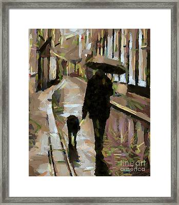 The Rainy Walk Framed Print