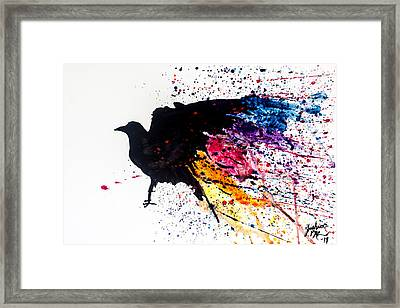 Framed Print featuring the painting The Raven by Joshua Minso