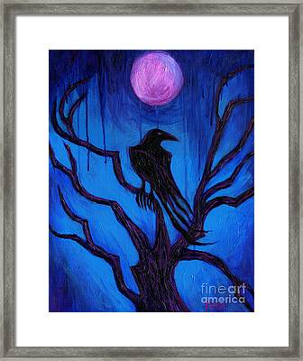 Framed Print featuring the painting The Raven Nevermore by Roz Abellera Art
