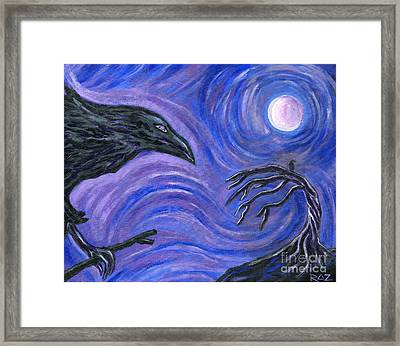 Framed Print featuring the painting The Raven by Roz Abellera Art