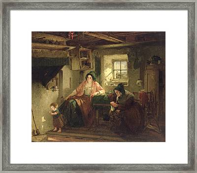 The Ray Of Sunlight, 1857 Oil On Canvas Framed Print by Thomas Faed