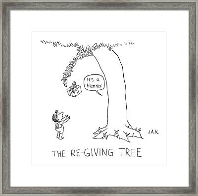 The Re-giving Tree: A Tree Offers A Child Framed Print by Jason Adam Katzenstein