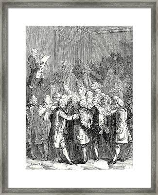 The Reading Out Of Letters From Franklin To The Royal Framed Print