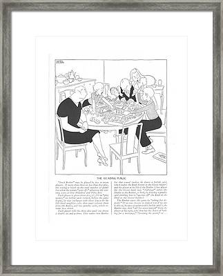 The Reading Public  Stock Broker May Be Played Framed Print by Gluyas Williams