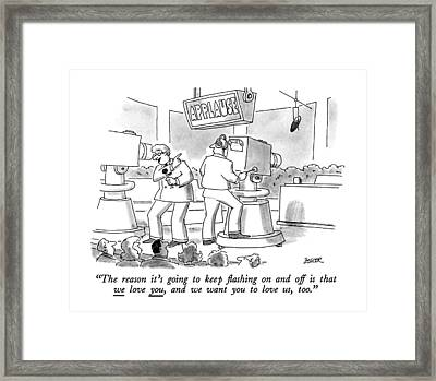 The Reason It's Going To Keep ?ashing Framed Print by Jack Ziegler