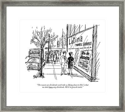 The Reason Our Dividends Won't Take Us '?ying Framed Print by Everett Opie