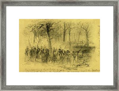 The Rebels Covered By A Ledge Of Rock Repulsing The Troops Framed Print by Quint Lox