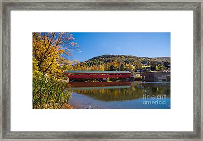 The Rebuilt Taftsville Covered Bridge Framed Print by New England Photography