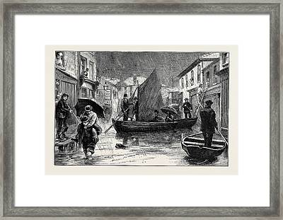 The Recent Floods Scene At Northwich Framed Print by English School