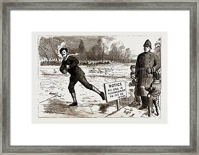 The Recent Frost And Snow Storm In London Danger A Scene Framed Print