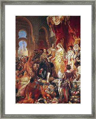 The Reception Of Christopher Columbus By Ferdinand II Of Aragon And Isabella Framed Print by Eugene Deveria