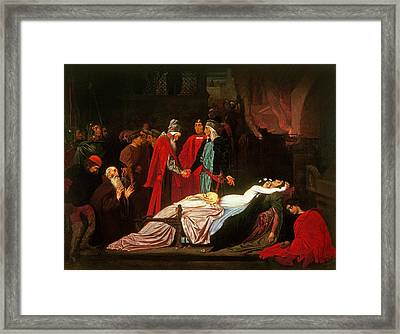 The Reconciliation Of The Montagues And The Capulets Over The Dead Bodies Of Romeo And Juliet Oil Framed Print by Frederic Leighton