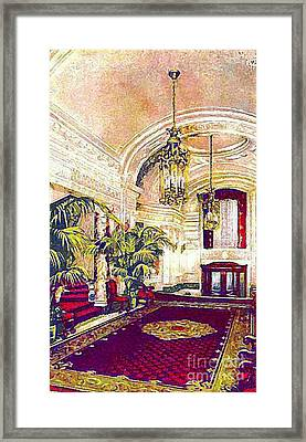 The Rector Hotel Lobby Staircase In 1910 Framed Print by Dwight Goss