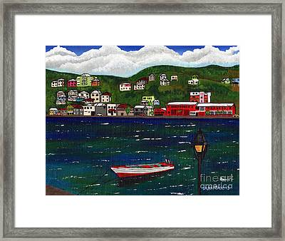 Framed Print featuring the painting The Red And White Fishing Boat Carenage Grenada by Laura Forde