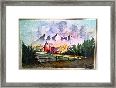 The Red Barn Angry Sky Sold Framed Print