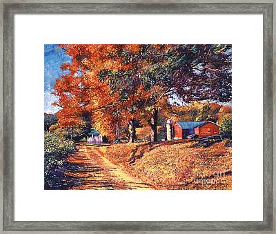 The Red Barn Framed Print by David Lloyd Glover