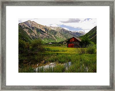The Red Barn Door Framed Print