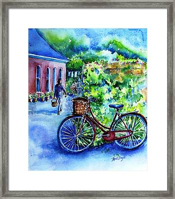 Framed Print featuring the painting The Red Bike  by Trudi Doyle