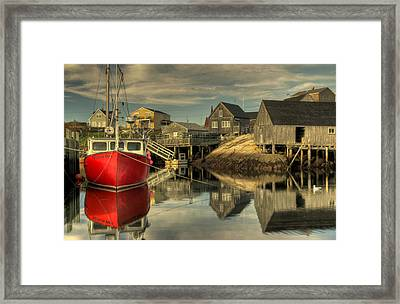 The Red Boat At Peggys Cove Framed Print