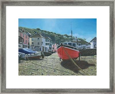 The Red Boat Polperro Corwall Framed Print by Richard Harpum
