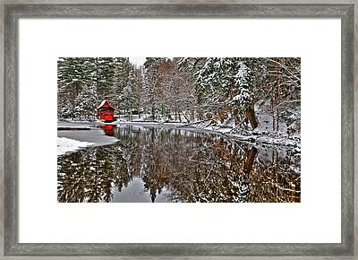 The Red Boathouse In Old Forge Framed Print
