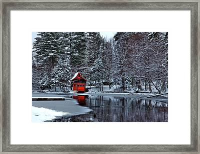 The Red Boathouse - Old Forge Ny Framed Print by David Patterson