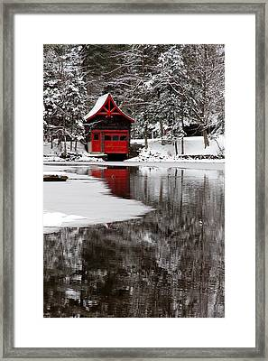 The Red Boathouse On Beaver Brook Framed Print by David Patterson