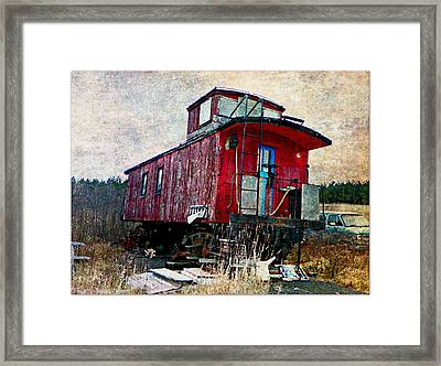 The Red Caboose Framed Print by Dianne  Lacourciere