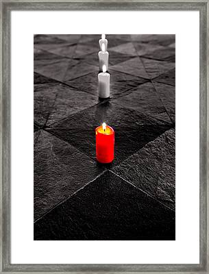 Framed Print featuring the photograph The Red Candle by Marwan Khoury